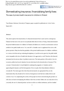 Private Health Insurance >> Domesticating Insurance Financializing Family Lives The
