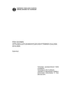 Oppilaskuljetushankintojen Kehittaminen Oulussa 2016 2020